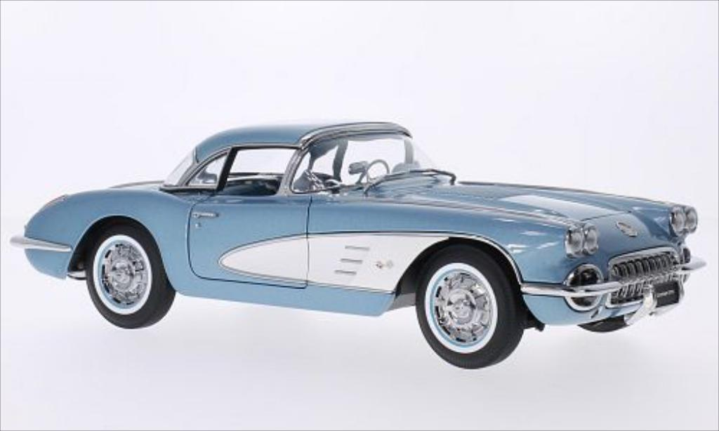 Chevrolet Corvette C1 1/18 Autoart metallise bleu/white 1958 diecast model cars