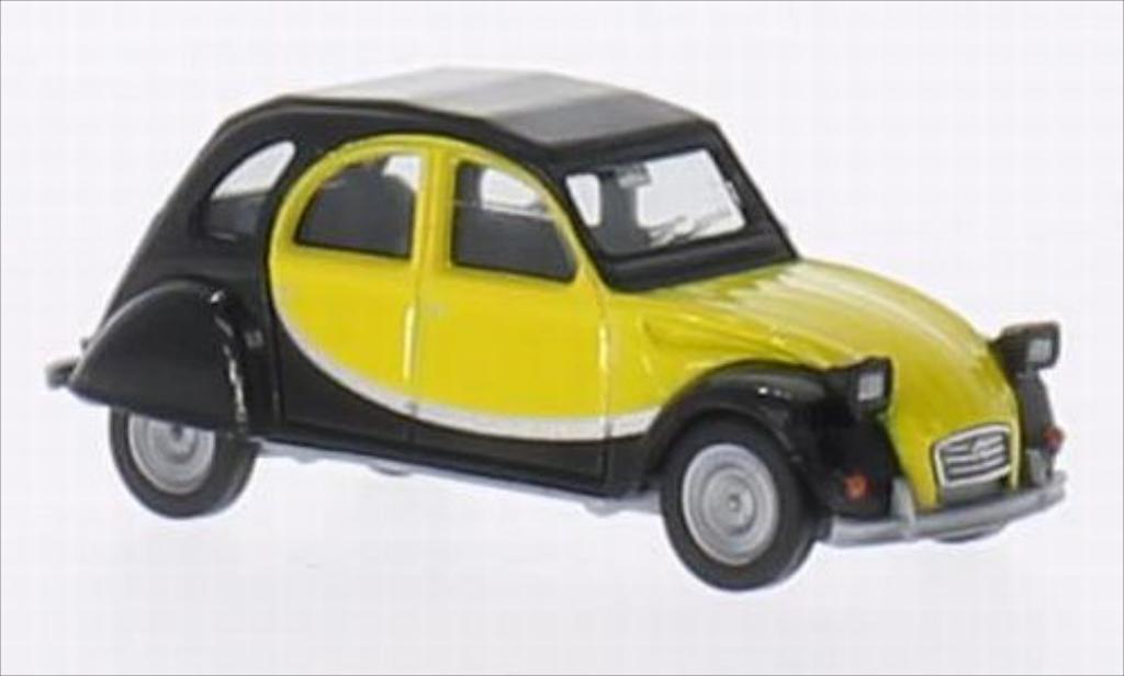 Citroen 2CV 1/87 Herpa Charleston noire/jaune miniature