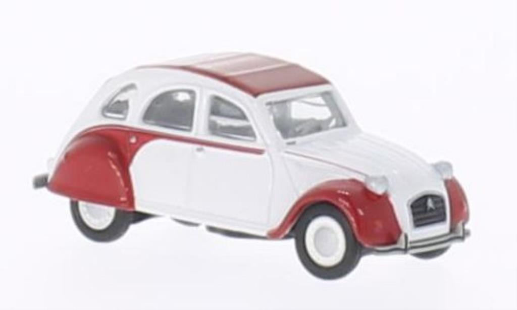 Citroen 2CV 1/87 Schuco Dolly blanche/rouge miniature