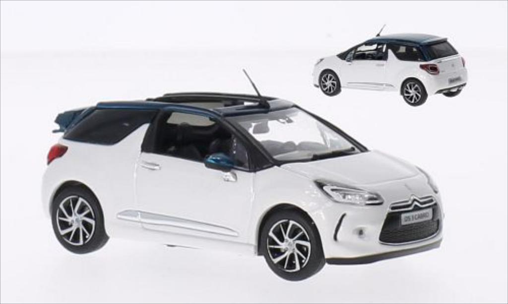 citroen ds3 miniature cabrio blanche metallic verte 2015 norev 1 43 voiture. Black Bedroom Furniture Sets. Home Design Ideas