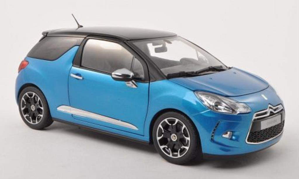 citroen ds3 miniature bleu noire 2011 norev 1 18 voiture. Black Bedroom Furniture Sets. Home Design Ideas