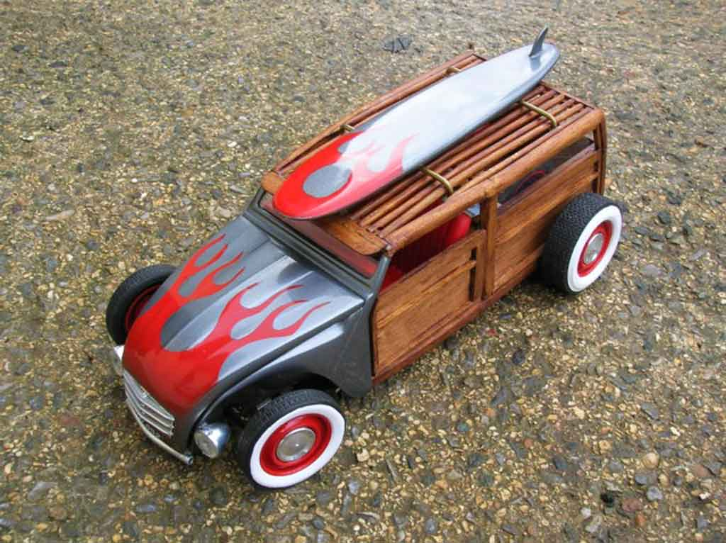 citroen 2cv woody the wooden horse hot rod solido diecast model car 1  18  sell diecast car