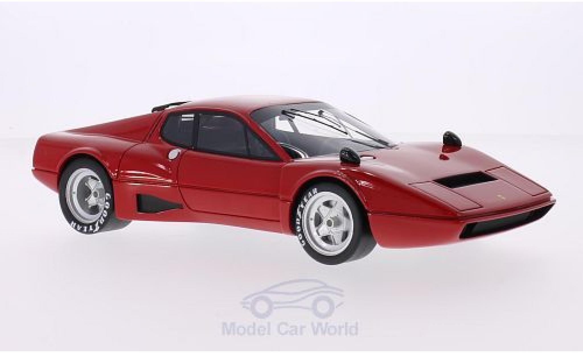 Ferrari 365 1/18 CMF GT4 BB Competizione rouge Plain Body Version grisene Felgen abgedeckte Scheinwerfer ohne Heckspoiler