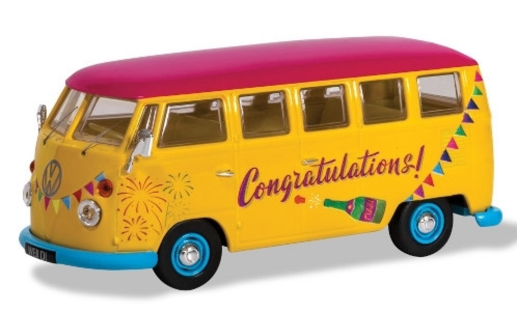 Volkswagen T1 1/43 Corgi Camper yellow/Dekor RHD Congratulations