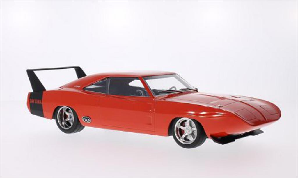 Dodge Charger Daytona 1/18 Greenlight Custom rouge/matt-noire 1969 miniature