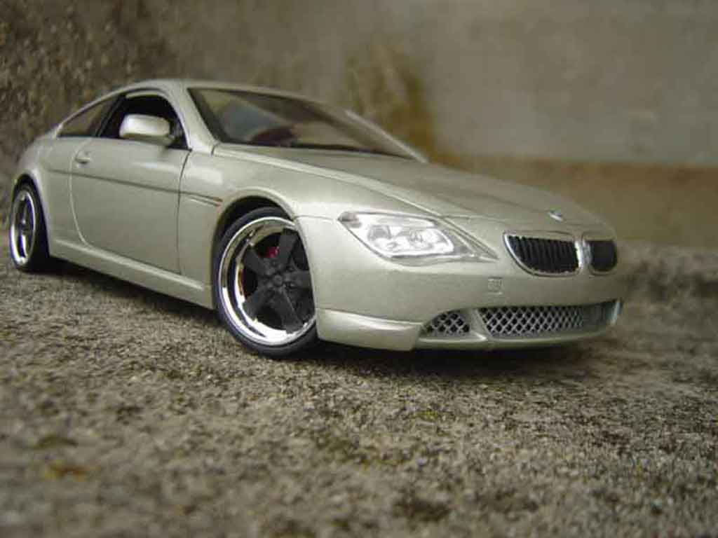 Bmw 645 E63 1/18 Hot Wheels ci coupe grise metallized jantes noires tuning miniature