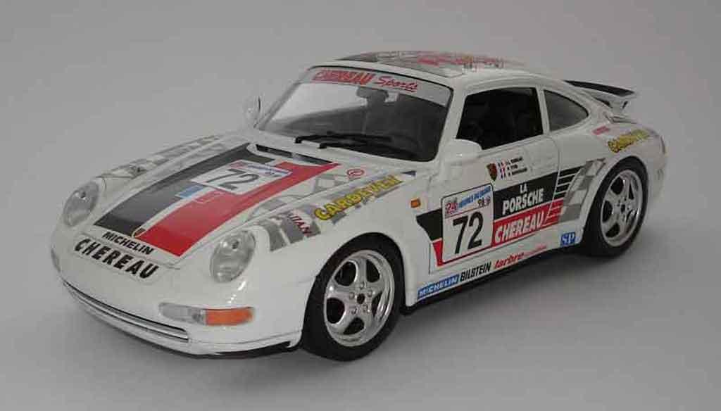 Porsche 993 Carrera 1/18 Burago gt le mans 98 #72 miniature