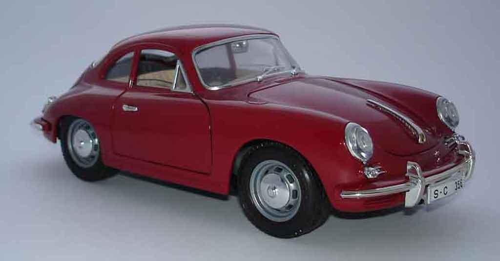 Porsche 356 1/18 Burago B coupe red diecast model cars