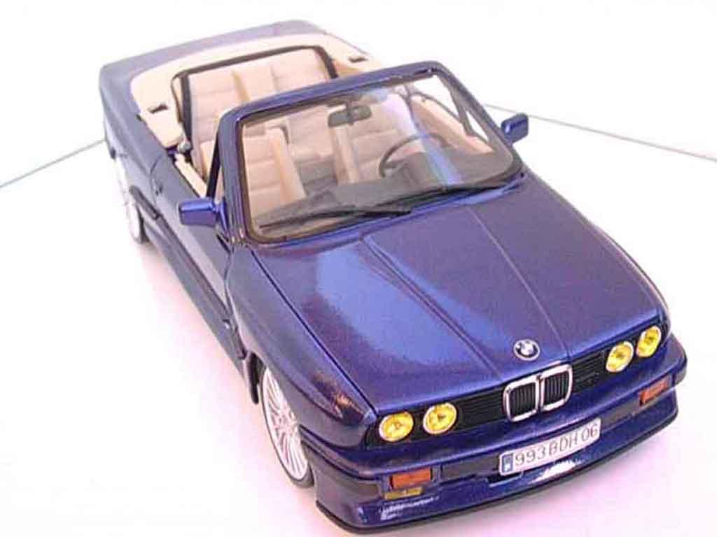 Bmw 325 E30 1/18 Autoart i cabriolet e30 bleu metallized swap moteur m3 interieur cuir beige tuning diecast model cars