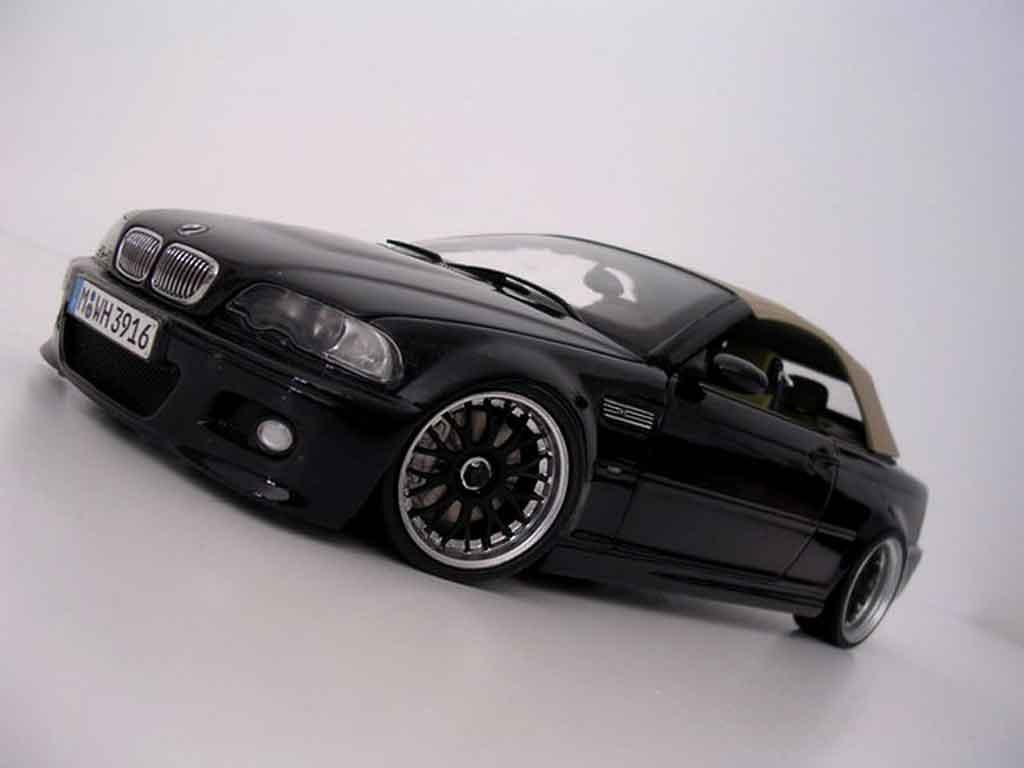 Modèle réduit Bmw M3 E46 cabriolet noire jantes bbs tuning Kyosho. Bmw M3 E46 cabriolet noire jantes bbs miniature 1/18