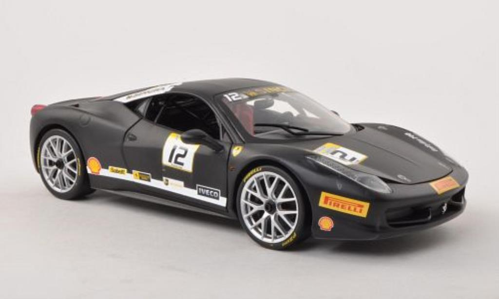Ferrari 458 Challenge 1/18 Hot Wheels No.12 matt-noire miniature
