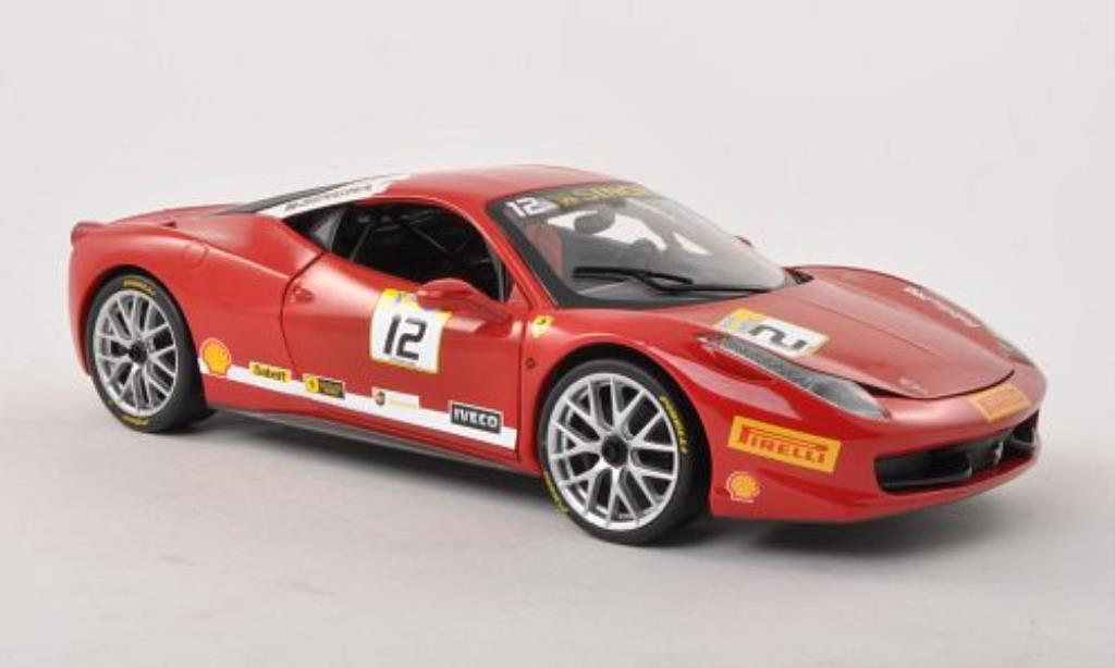 Ferrari 458 Challenge 1/18 Hot Wheels No.12 rouge miniature