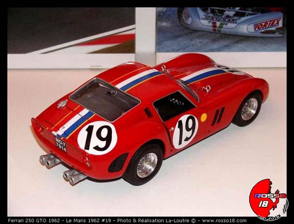 Auto miniature Ferrari 250 GTO 1962 le mans #19 tuning Burago. Ferrari 250 GTO 1962 le mans #19 Le Mans miniature 1/18