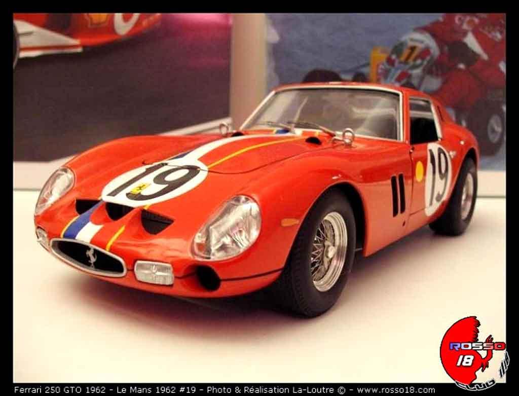 Modèle réduit Ferrari 250 GTO 1962 le mans #19 tuning Burago. Ferrari 250 GTO 1962 le mans #19 Le Mans miniature 1/18