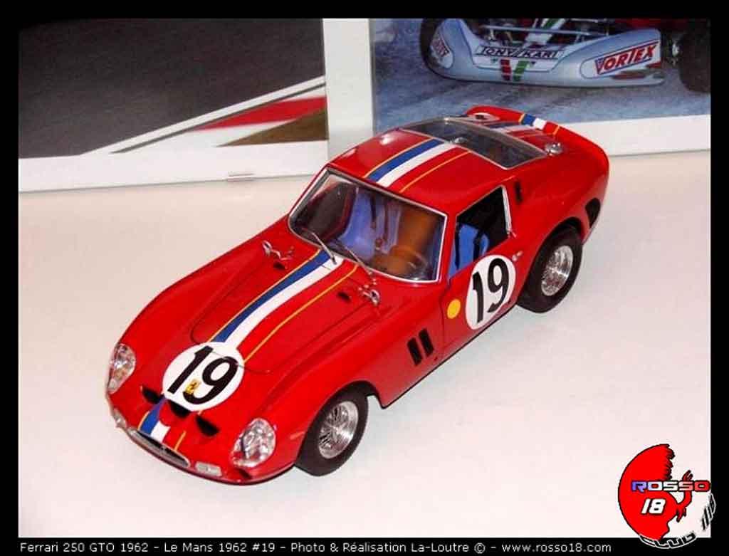 Ferrari 250 GTO 1962 le mans #19 tuning Burago. Ferrari 250 GTO 1962 le mans #19 Le Mans miniature modèle réduit 1/18