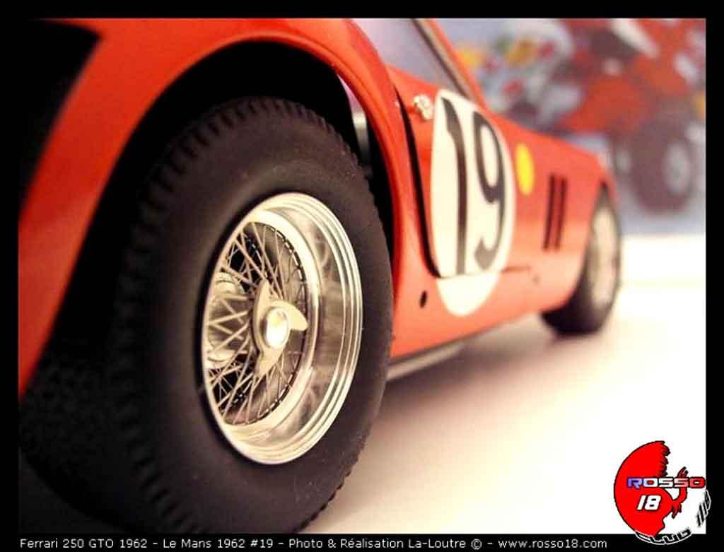 Voiture de collection Ferrari 250 GTO 1962 le mans #19 tuning Burago. Ferrari 250 GTO 1962 le mans #19 Le Mans miniature 1/18
