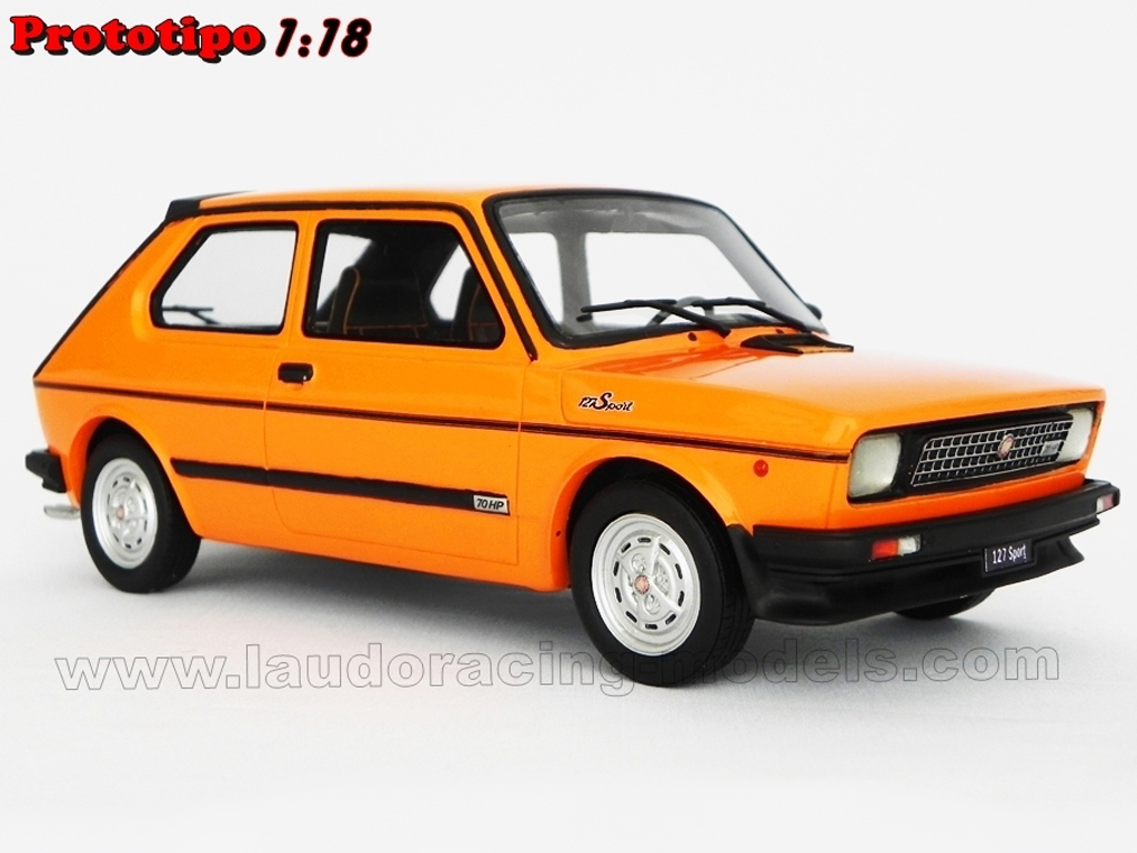 Fiat 127 Sport 1/18 Laudoracing Models 70 HP LM090B orange miniature