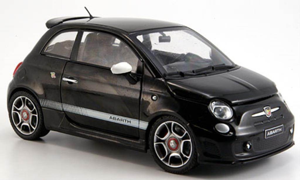 Fiat 500 Abarth 1/24 Motormax black 2008 diecast model cars
