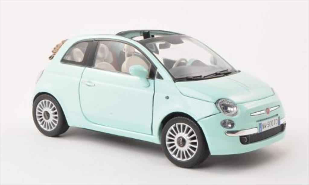 fiat 500 cabrio turkis motormax modellauto 1 18 kaufen. Black Bedroom Furniture Sets. Home Design Ideas