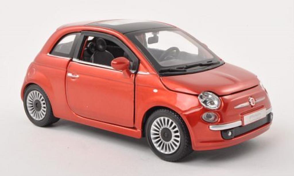 Fiat 500 1/24 Burago kupfer 2007 modellino in miniatura