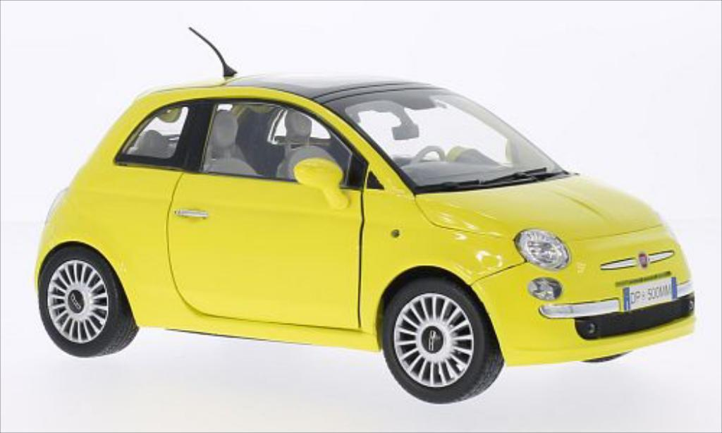 fiat 500 miniature jaune motormax 1 18 voiture. Black Bedroom Furniture Sets. Home Design Ideas