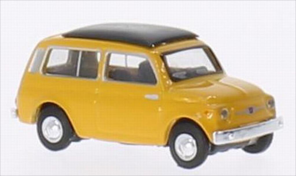 Fiat 500 1/87 Schuco Giardinera jaune miniature