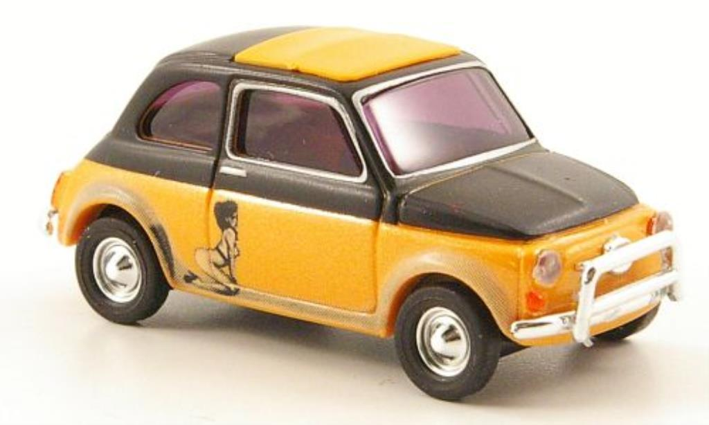 Fiat 500 1/87 Busch Illusion orange/noire miniature
