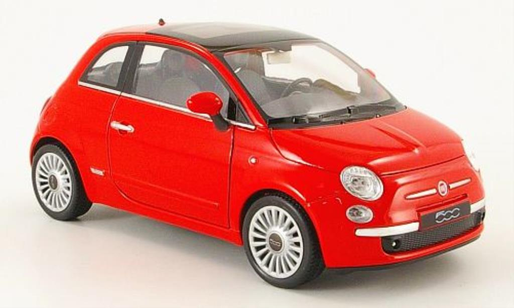 Fiat 500 1/24 Welly red 2007 diecast model cars