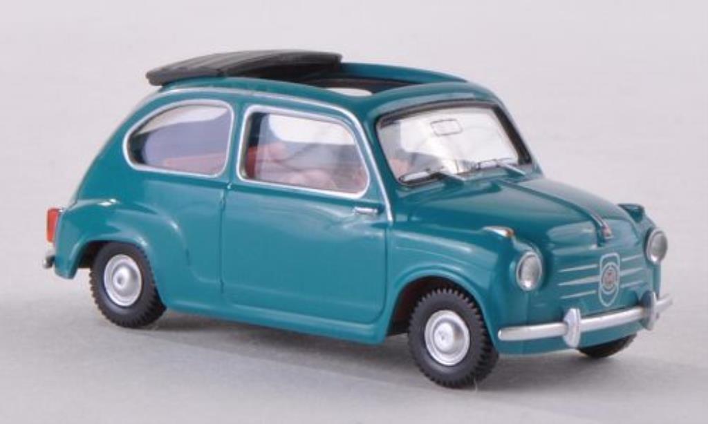 Fiat 600 1/87 Wiking bleu-verte mit offenem Faltdach miniature