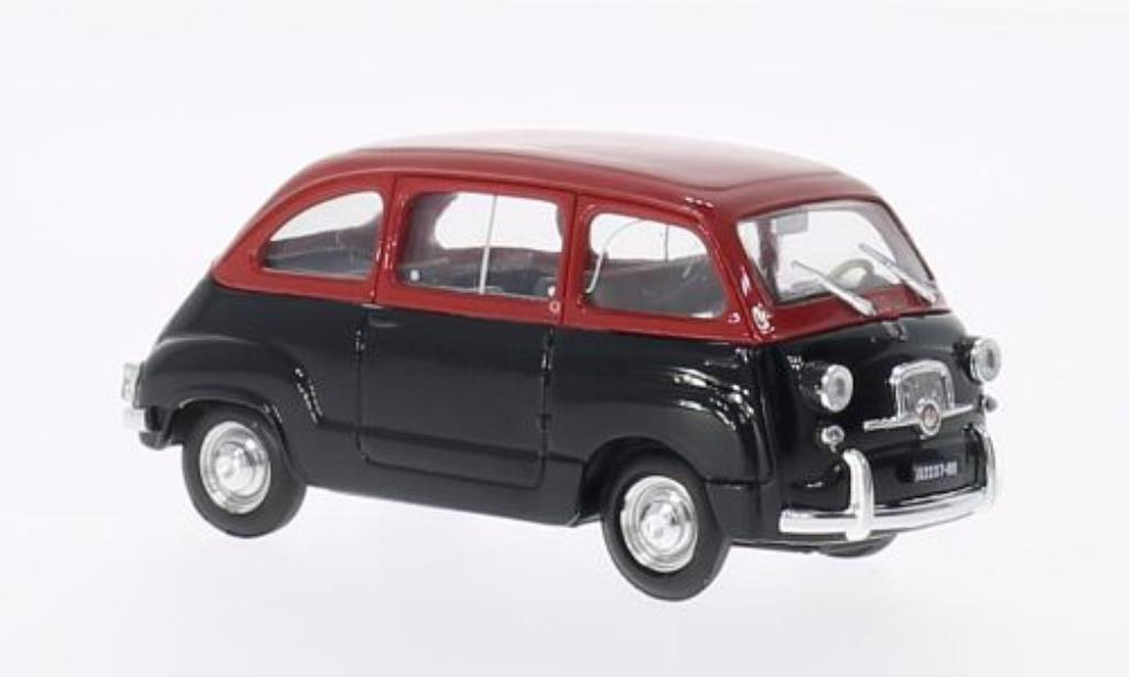 Fiat 600 1/43 Brumm Multipla D red/black 1960 diecast model cars