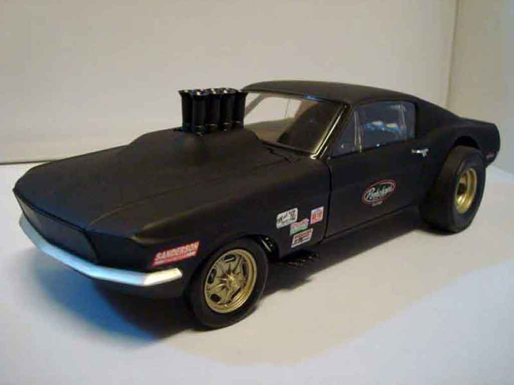 Ford Mustang 1967 1/18 GMP 1967 drag gasser pork chop flat black diecast model cars