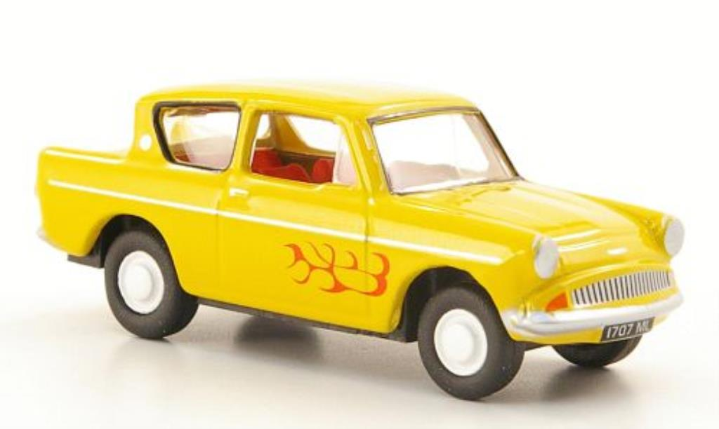 Ford Anglia 1/76 Oxford yellow mit Flammendekor diecast model cars