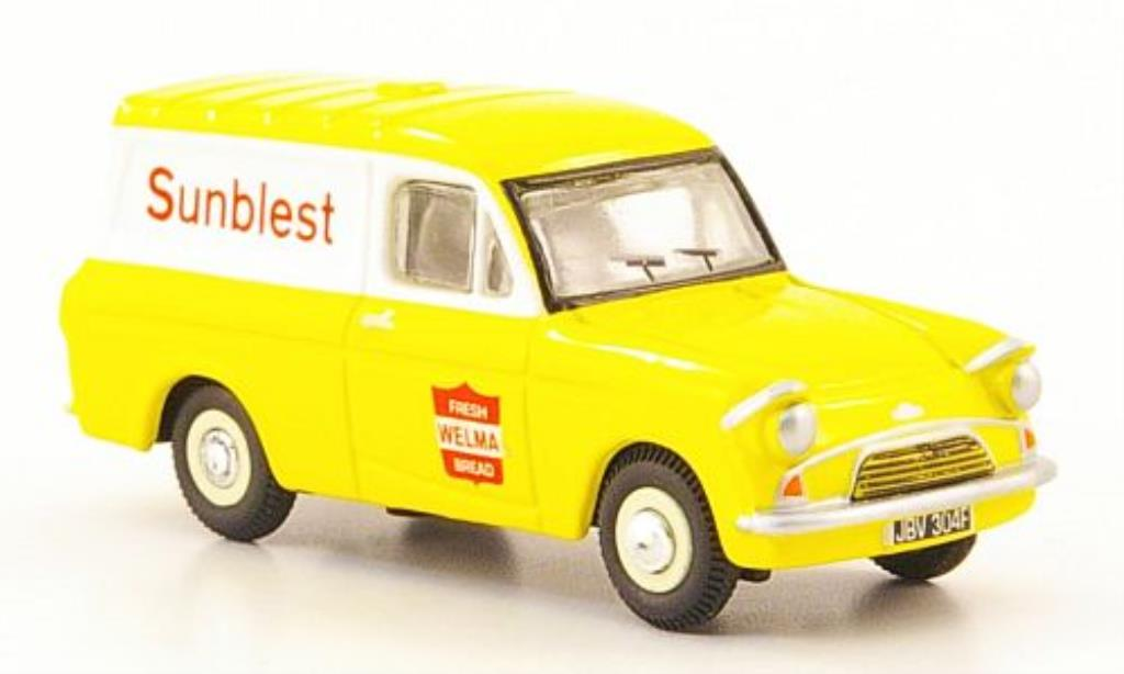 Ford Anglia 1/76 Oxford Kastenwagen Sunbiest yellow/white diecast model cars