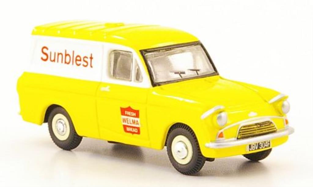 Ford Anglia 1/76 Oxford Kastenwagen Sunbiest jaune/blanche