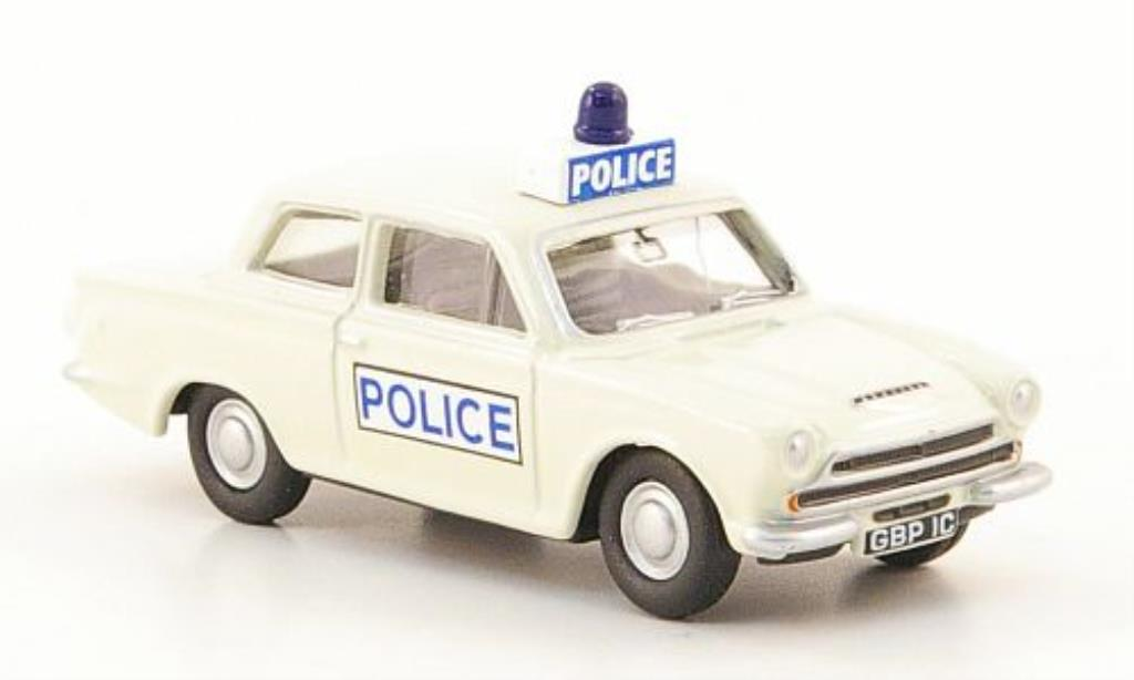 Ford Cortina 1/76 Oxford MKI Police blanche miniature