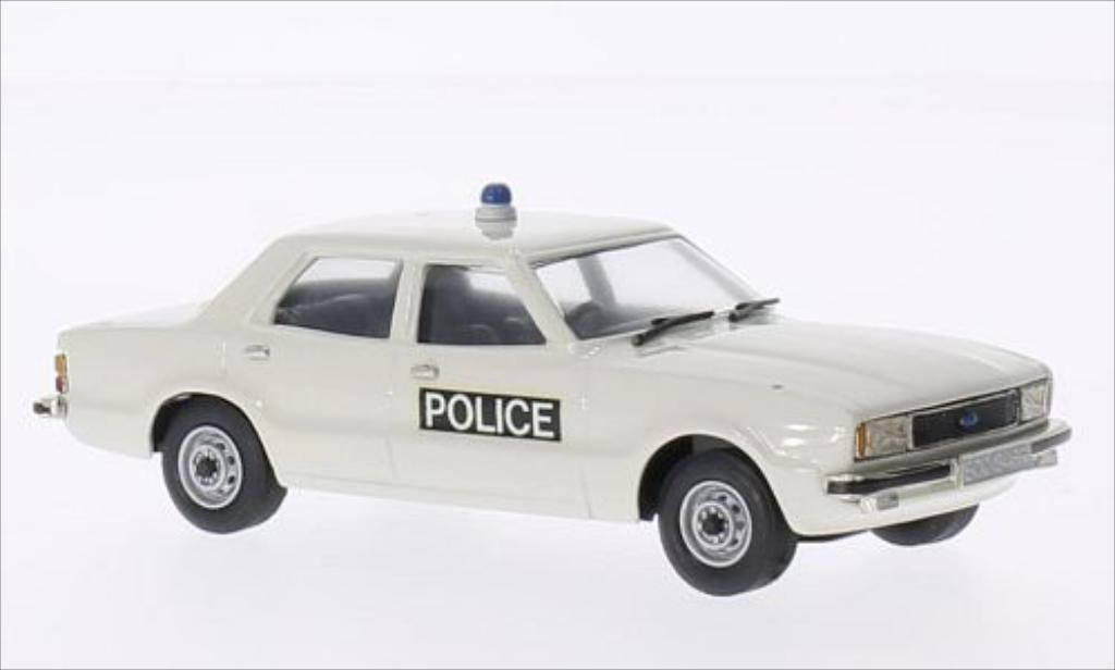 Ford Cortina 1/43 Brooklin MKIV Essex Police blanche 1976 miniature