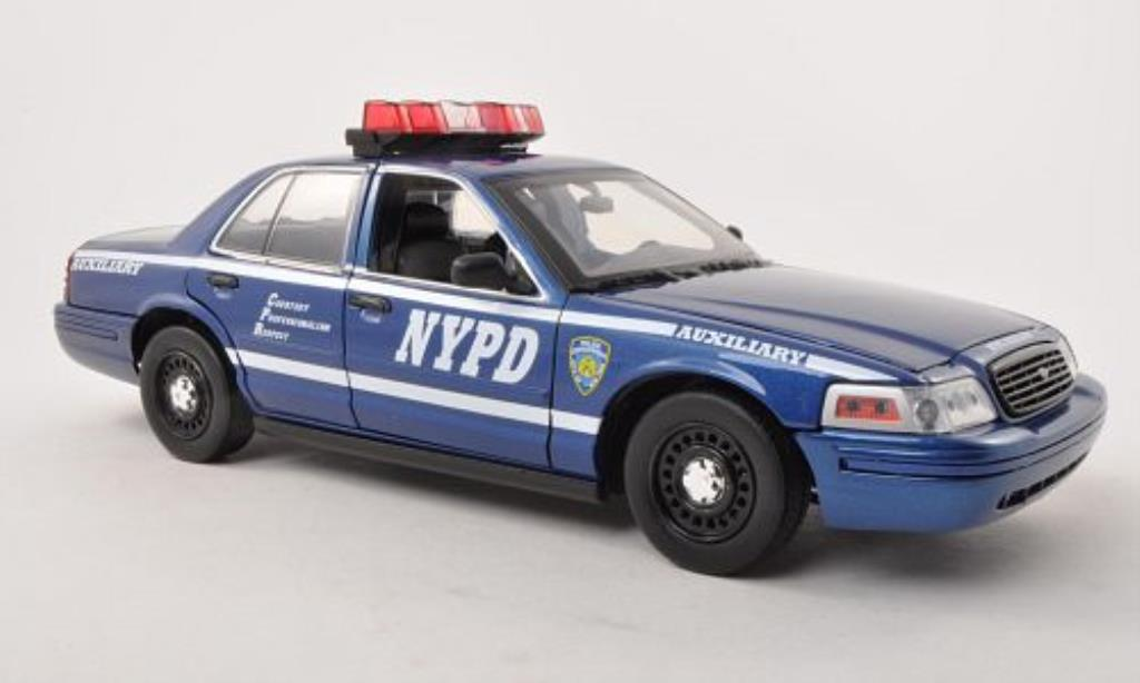 ford crown victoria police interceptor nypd auxiliary polizei usa 2001 greenlight modellauto 1. Black Bedroom Furniture Sets. Home Design Ideas