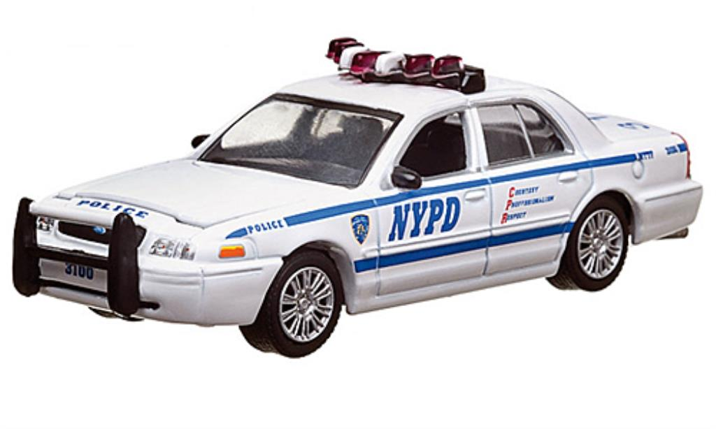 ford crown victoria police interceptor nypd polizei usa 2008 greenlight modellauto 1 64. Black Bedroom Furniture Sets. Home Design Ideas