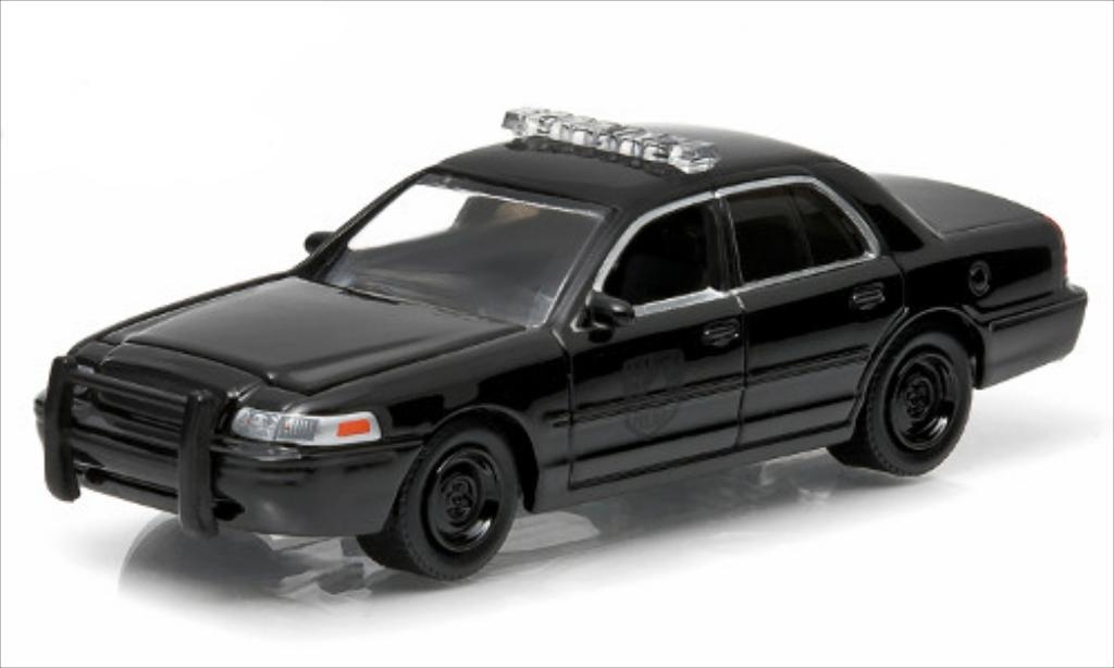 Miniature Ford Crown Victoria Police Interceptor noire 2008 Greenlight. Ford Crown Victoria Police Interceptor noire 2008 miniature 1/64