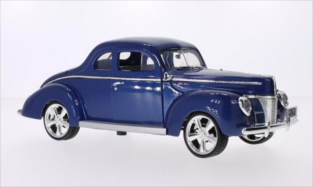 Ford Deluxe 1/18 Motormax Tuning metallic-bleu 1940 miniature