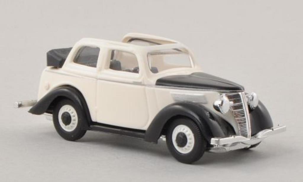 Ford Eifel 1/87 Busch Cabriolimousine blanche/noire miniature