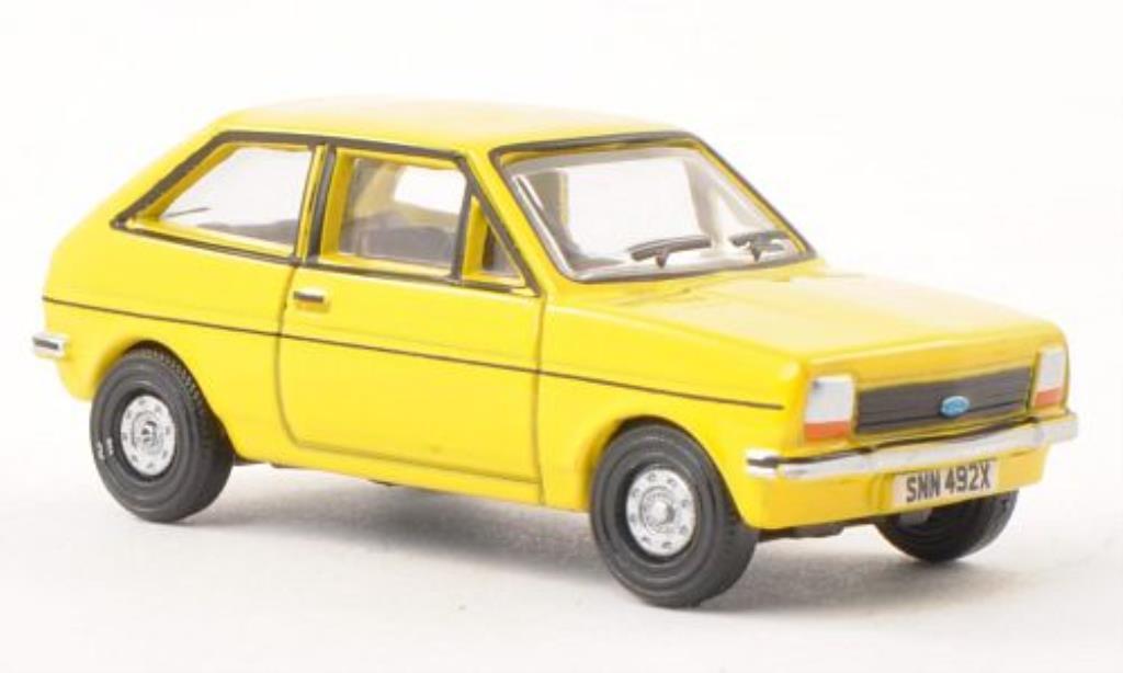 Ford Fiesta 1/76 Oxford MkI jaune miniature
