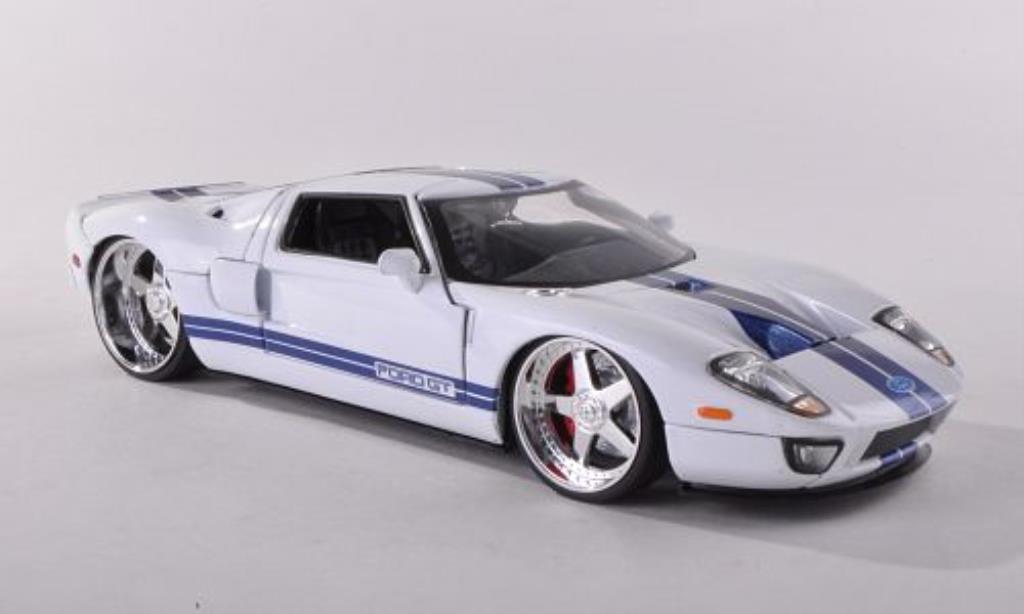 Ford GT 1/24 Jada Toys Toys blanche mit bleuen Streifen 2005 miniature