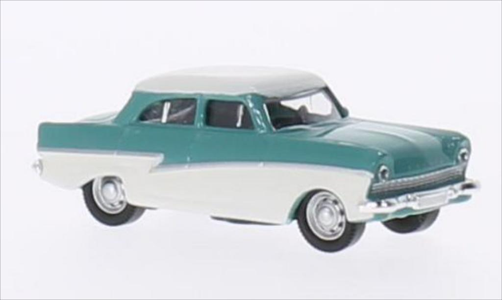 Ford Taunus 1/87 Schuco 17M turquoise/blanche miniature