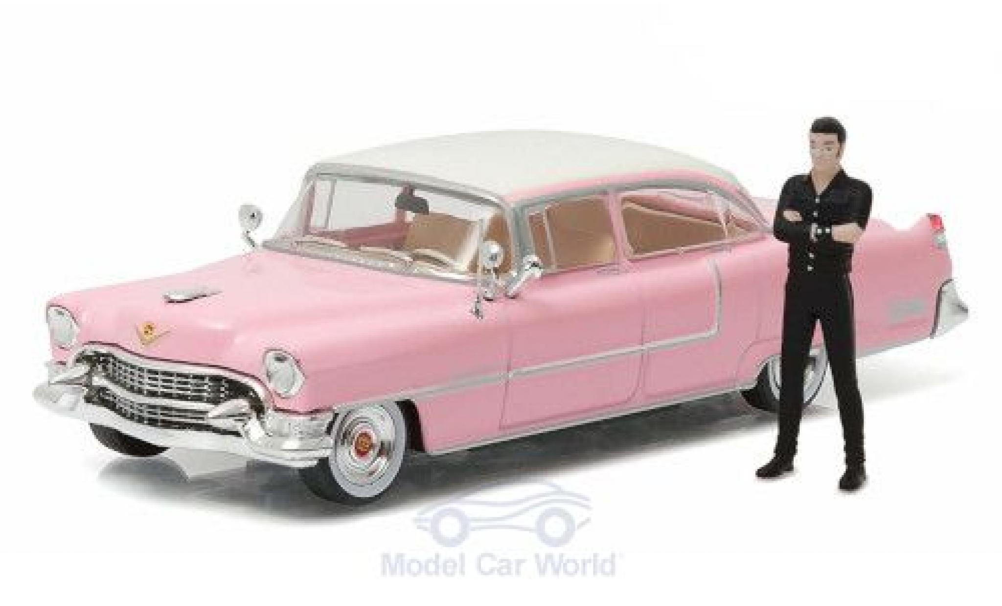 Cadillac Fleetwood 1/64 Greenlight Series 60 rose/blanche Bullitt 1955 mit Elvis Figur