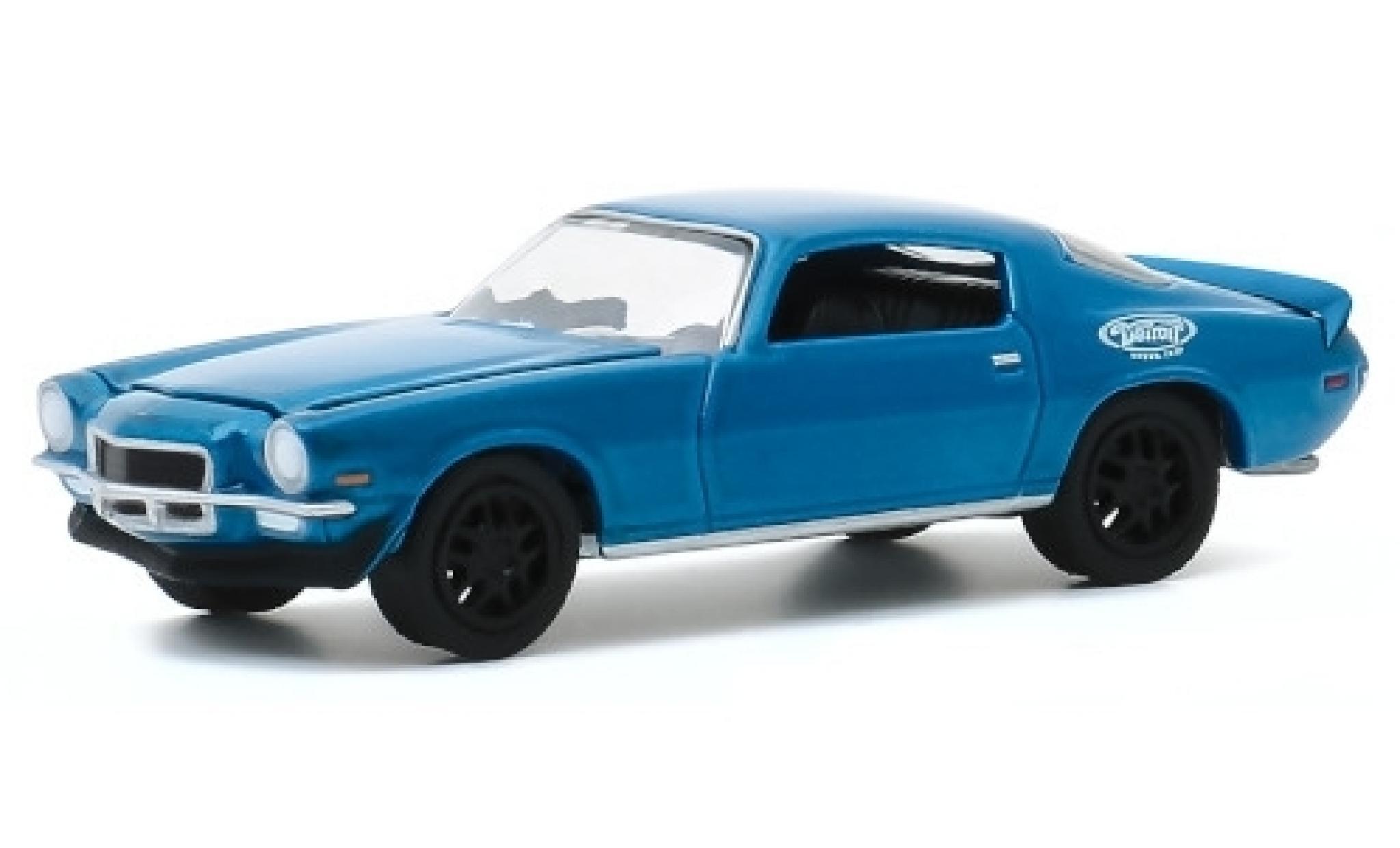 Chevrolet Camaro 1/64 Greenlight metallise bleue/Dekor 1970 Testfahrzeug