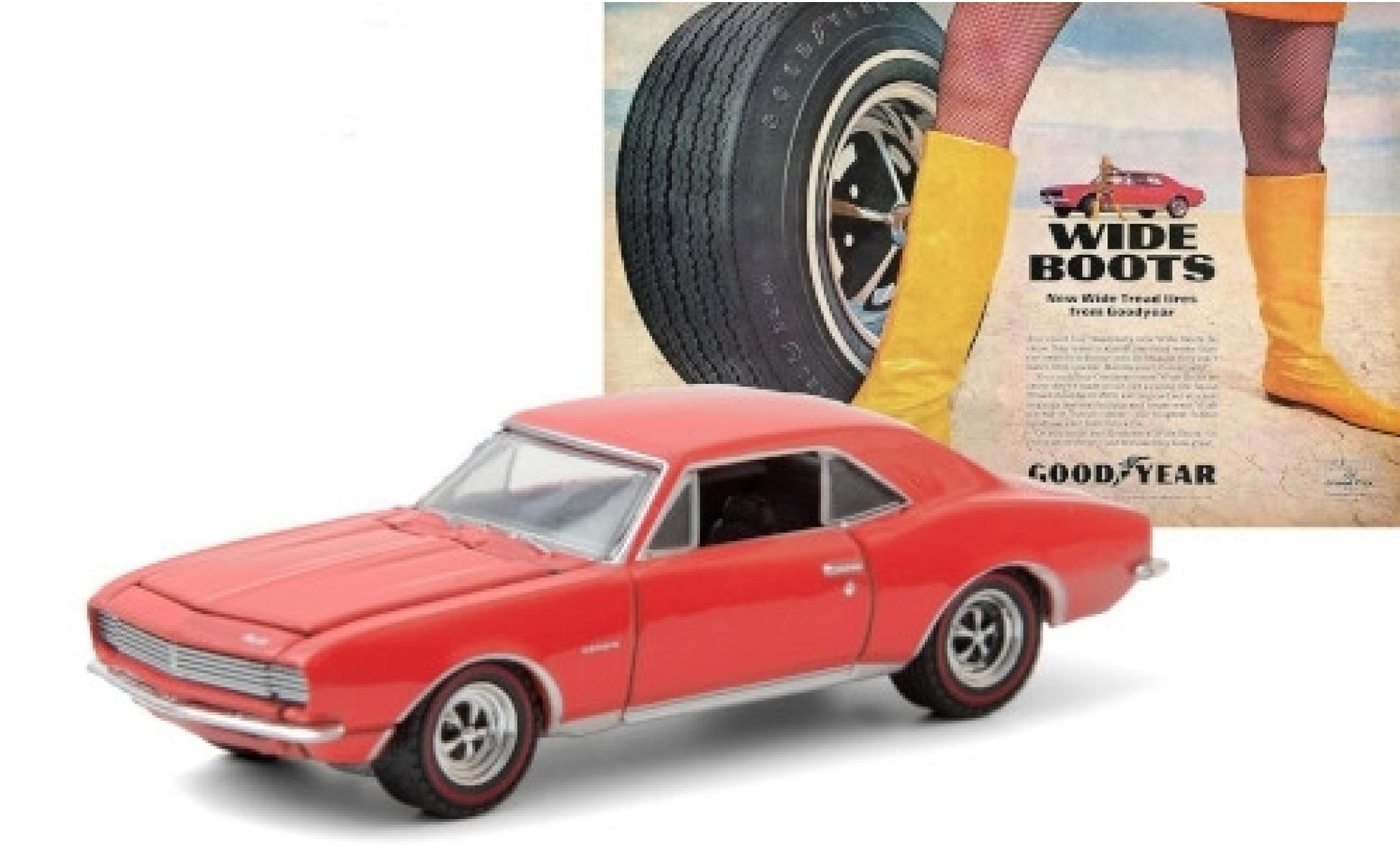 Chevrolet Camaro 1/64 Greenlight red 1967 Goodyear Wide Tread Tires