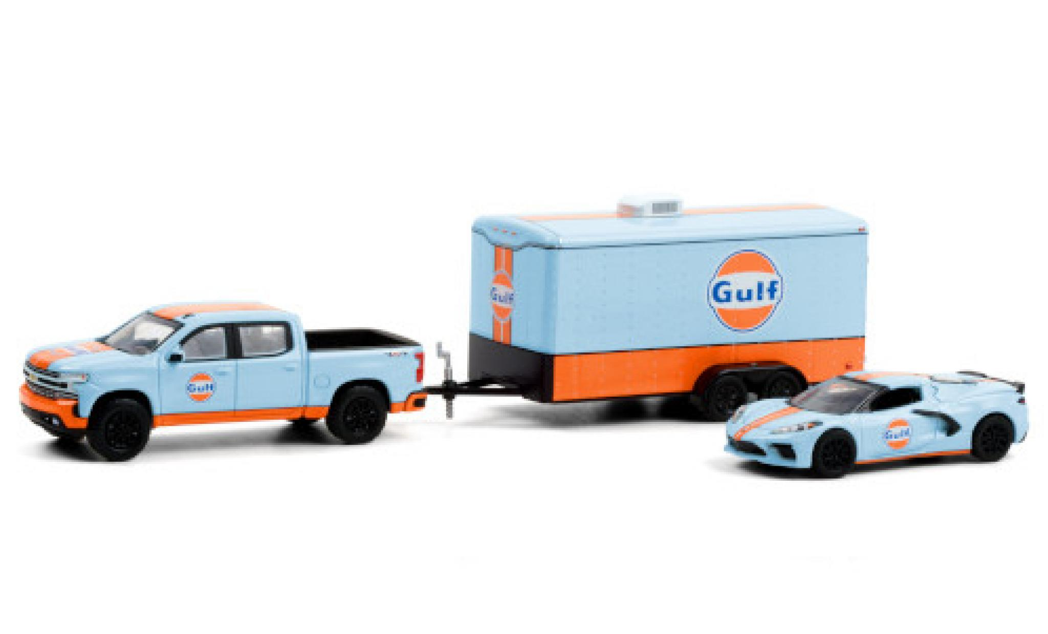 Chevrolet Silverado 1/64 Greenlight Gulf 2021 y compris les Corvette Stingray (C8) et fermé Remorque porte-voiture