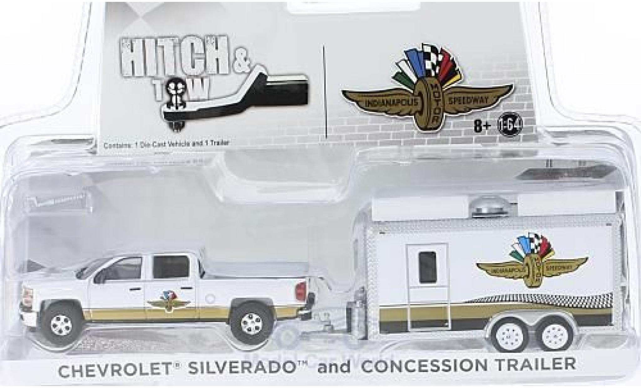 Chevrolet Silverado 1/64 Greenlight Indianapolis Motor Speedway mit Verkaufsanhänger
