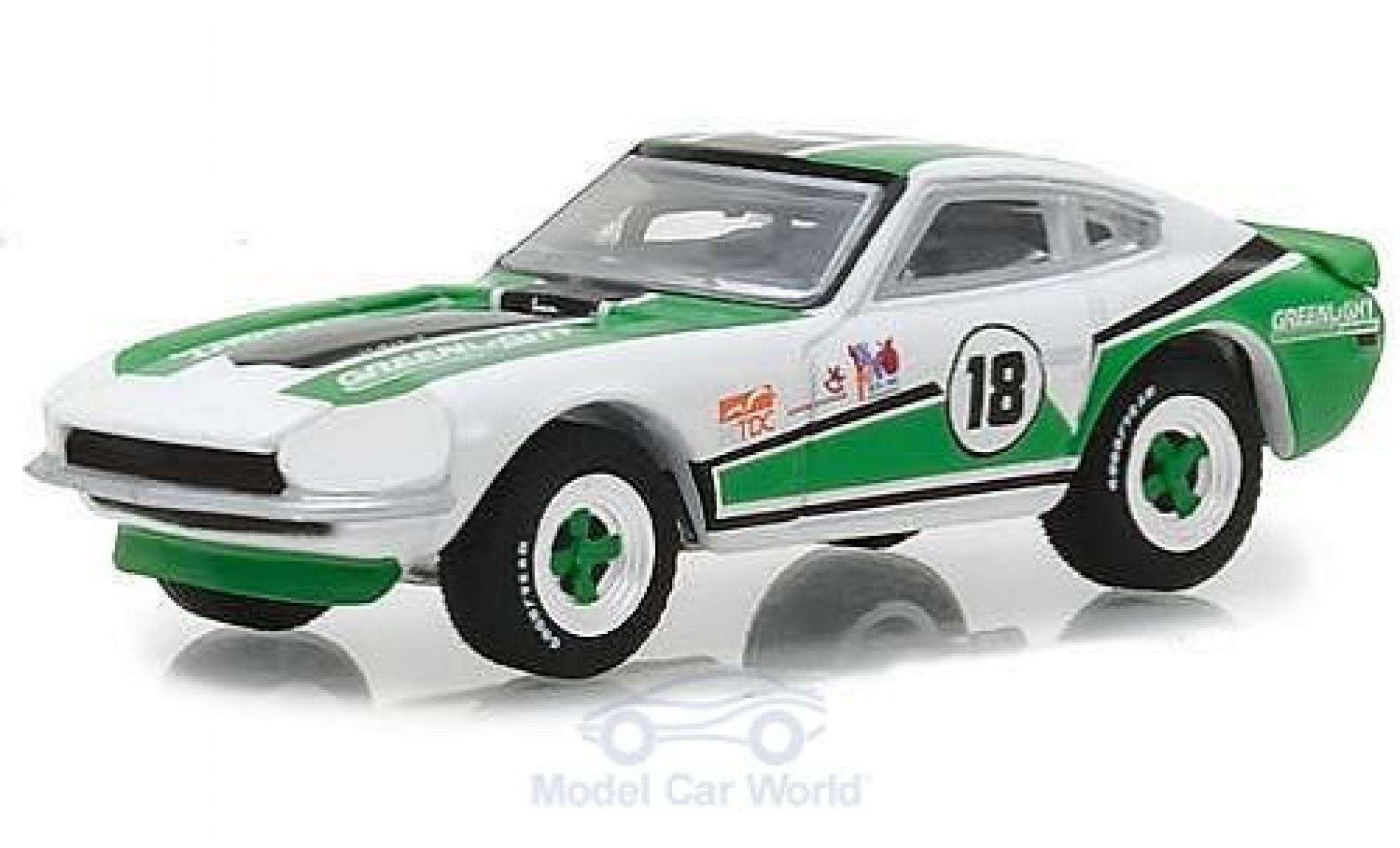 Datsun 240Z 1/64 Greenlight verte/blanche No.18 GreenLight Racing Team 1970